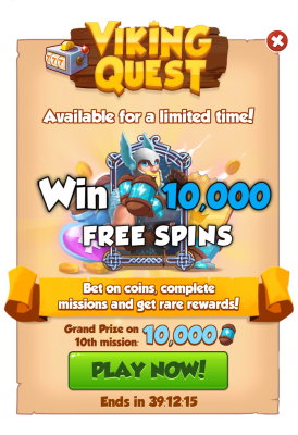 Coin Master Free Spins 10,000 & Coin Master Gold Cards Free From Coin Master Viking Quest Event ( Limited Time )